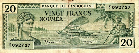 20 Francs  G (folds created split in center) Banknote