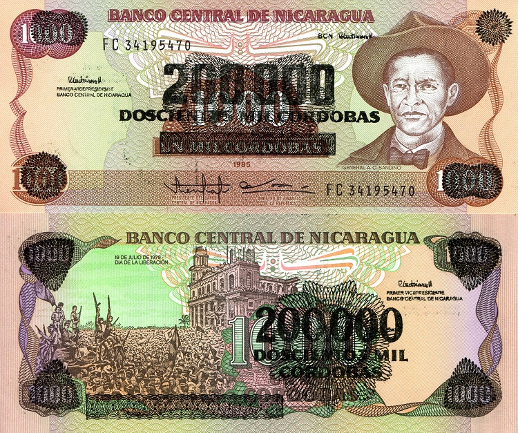 200,000 OP on 1,000 Cordobas  UNC Banknote