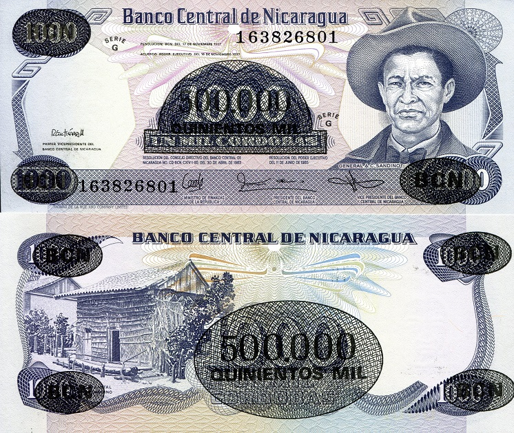 500,000 OP on 1,000  Cordobas  UNC Banknote