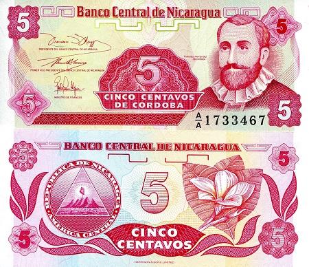 P-167 to 173 ; Set 6 notes Nicaragua 1 to 50 Centavos 1 Cordoba 1991 UNC