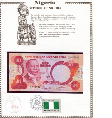 1 Naira  N/A (note looks UNC) Banknote