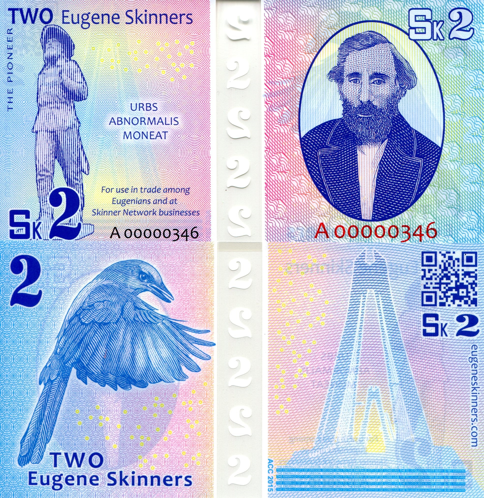 2 Eugene Skinners  UNC Banknote