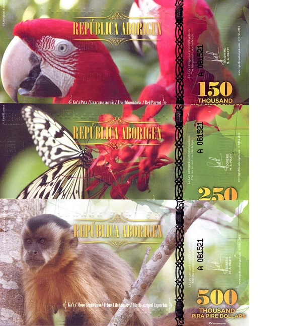 150, 250, 500 thousand Pira Piri Dollars  UNC 3 Banknote Set