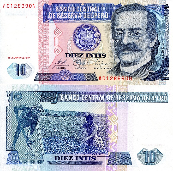 10 Intis  XF/VF Banknote