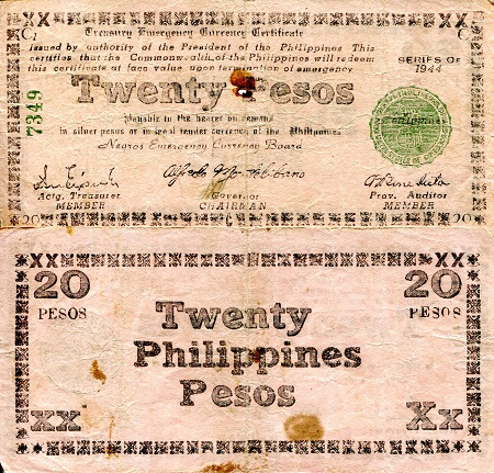 20 Pesos  VG to G- (bundle has mixed grades) Banknote