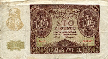 100 Zlotych  VG (see large scan) Banknote