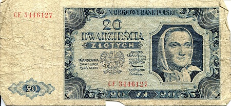 20 Zlotych  VG/G (see large scan) Very Thin Banknote