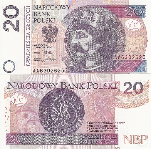 20 Zlotych  UNC Banknote