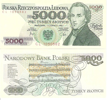 5000 Zlotych  UNC Banknote
