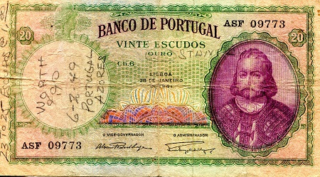 20 Escudos  G (Written on) Banknote