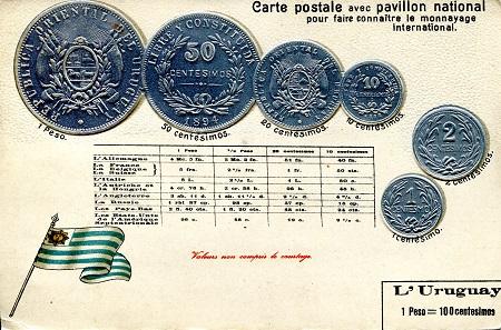 Overprinted URUGUAY BANKNOTE 1 Nuevo Peso Pick 56  UNC 1975