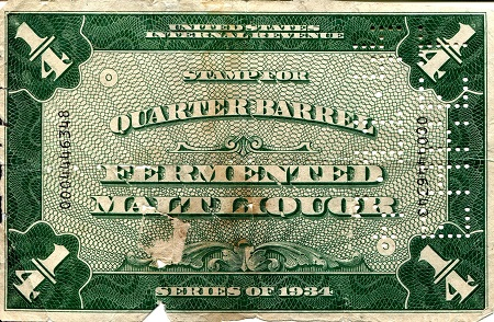 Stamp for quarter Barrel of Fermented Malt Liquour   Banknote