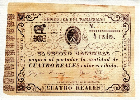 4 Reales  XF Banknote