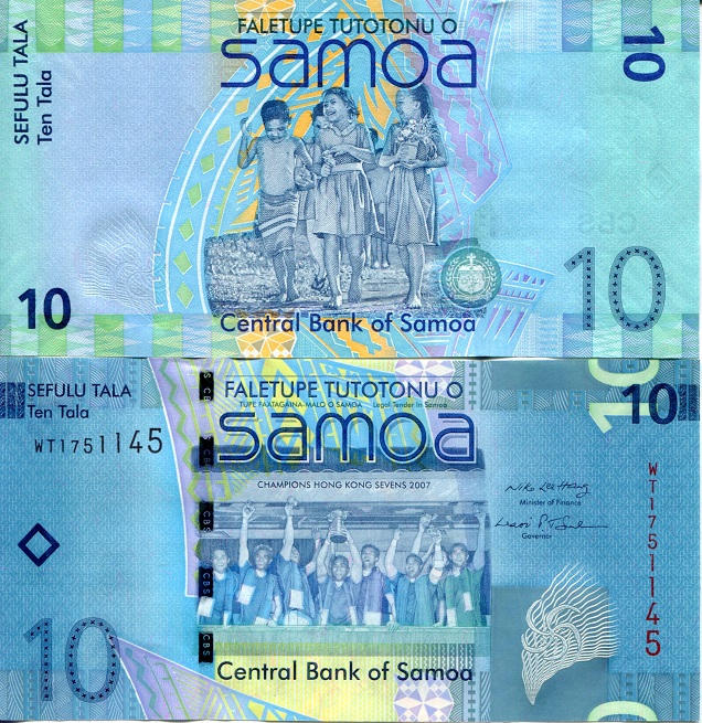 10 Tala  UNC (Standard crimp by security str Banknote