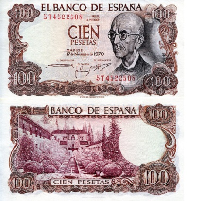 100 Pesetas  XF/VF (Light fold in half) Banknote
