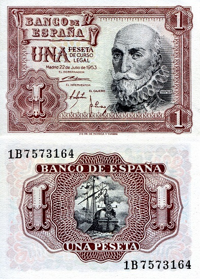 1 Peseta  XF (minor foxing/dirt) Banknote