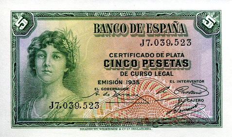 5 Pesetas  aUNC (mostly due to age) Banknote