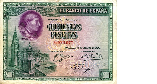 500 Pesetas  VG (see scan) - top & bottom ed Banknote