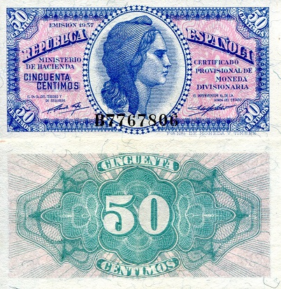 50 Cents  aUNC (minor foxing/dirt) Banknote