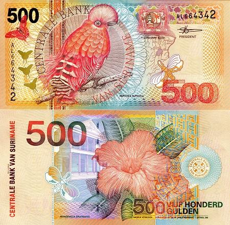 P-147 2000 Bird UNC North America Paper Money Suriname 10 Gulden Banknote