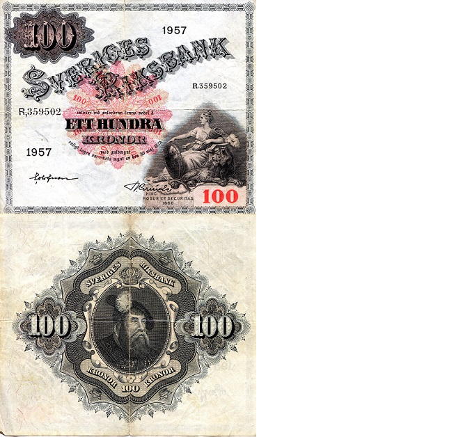 100 Kronor  G (scan is indicative of grade) Banknote