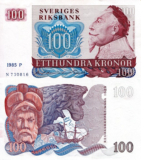 100 Kronor  XF/VF (see scan) Banknote