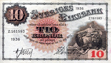 10 Kronor  VF (see large scan) Banknote
