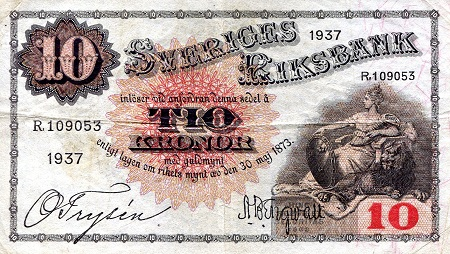 10 Kronor  VF/F (see large scan) Banknote