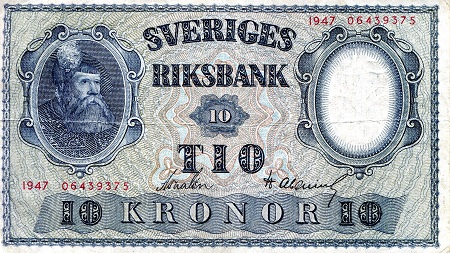 10 Kronor  F/VG (see large scan) Banknote