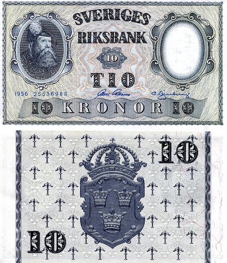 10 Kronor  XF/VF (see scan) Banknote