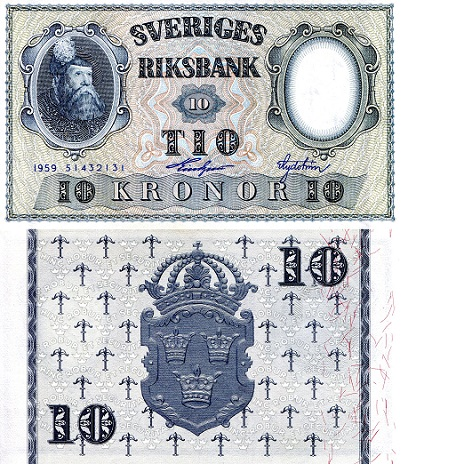 10 Kronor  XF/VF (see large scan) Banknote