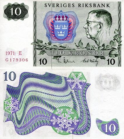 SWEDEN 10 Kronor 1975 UNC Pick 52c 1975