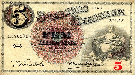 5 Kronor  VG (see large scan) Banknote