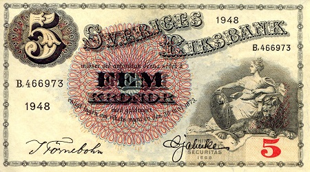 5 Kronor  XF/VF (see large scan) Banknote