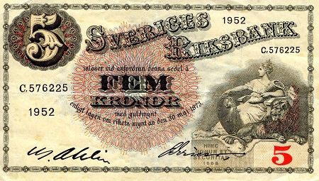 5 Kronor  VF (see scan) Banknote