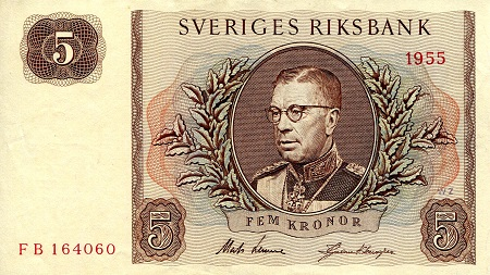 5 Kronor  VF (see large scan) Banknote