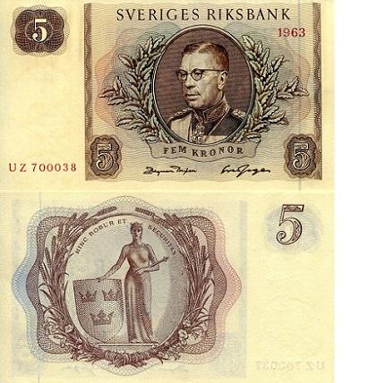 SWEDEN 5 KRONOR 1963 P 50 UNC