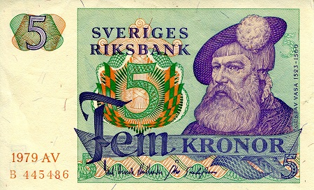 5 Kronor  XF (see large scan) Banknote