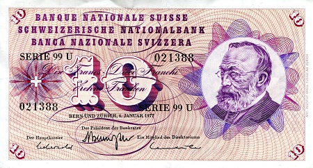 10 Francs  XF/VF (see scan) Banknote
