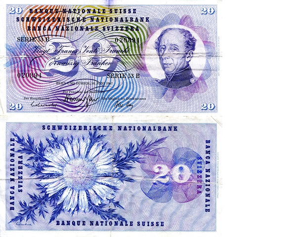 20 Francs  F/VG (see scan) Banknote
