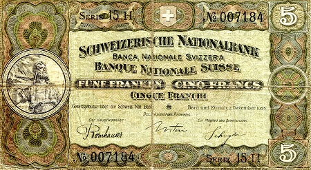 5 Francs  VG (see scan) center hole Banknote