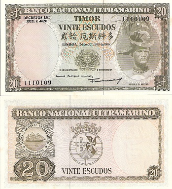 20 Escudos  aUNC/XF (Foxing) Banknote