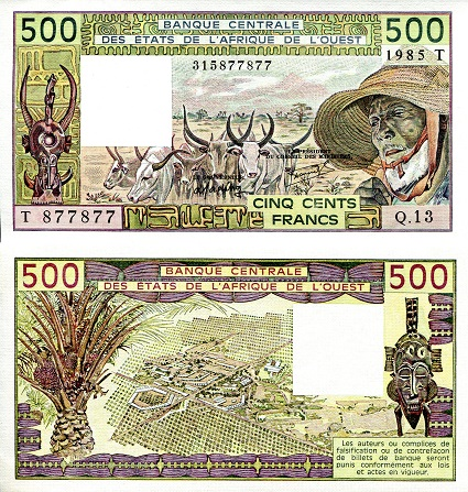 500 Francs  aUNC (Small corner issues) Banknote