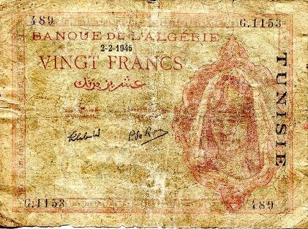 20 Francs  VG/G (tear/rips) Banknote