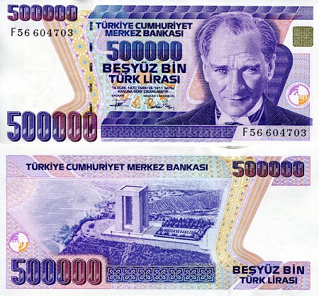 500,000 Lirasi  UNC (capping by security strip) Banknote