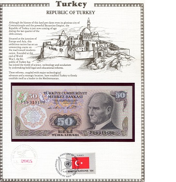 50 Lirasi  N/A (note looks UNC) Banknote