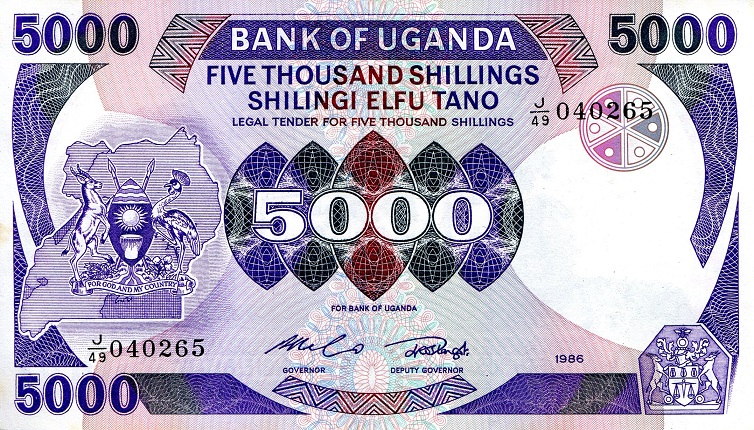 5,000 Shillings  aUNC (minor foxing) Banknote