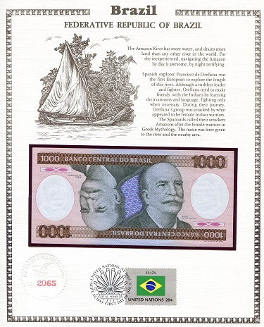1,000 Cruzeiros  N/A (notes looks to be UNC in holde Banknote