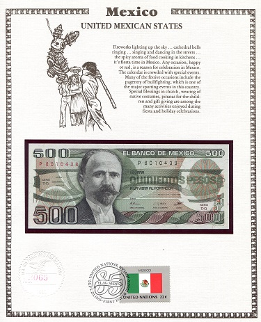 500 Pesos  N/A (notes looks to be UNC in holde Banknote