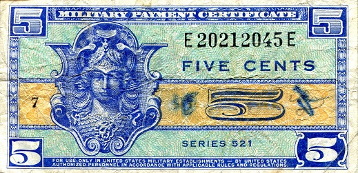 5 Cents  Fine Banknote
